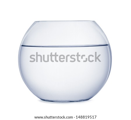 Empty fish bowl isolated on white - stock photo