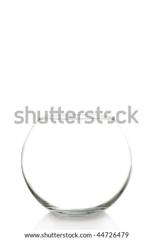 empty fish bowl on a white background with space for messages - stock photo