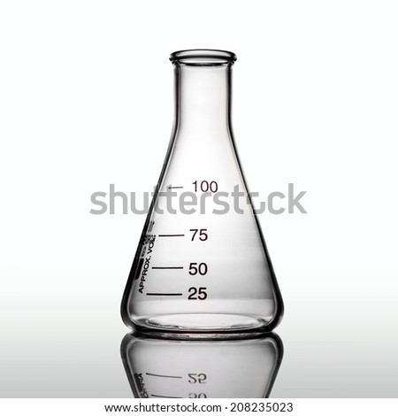 Empty flask with reflection, white background - stock photo