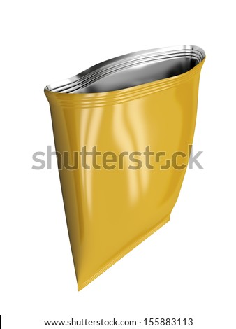 Empty foil bag isolated on white background - stock photo