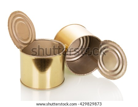 Empty food cans close-up isolated on white background. - stock photo