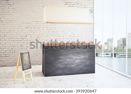 Empty food stand and menu board in shop interior. Mock up, 3D Render - stock photo