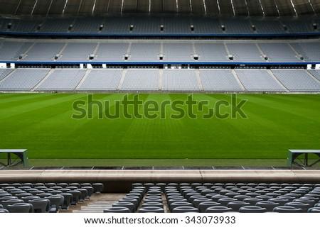 Empty football arena field. German Stadium. - stock photo