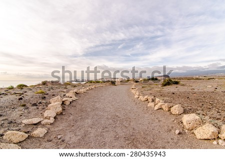 Empty Footpath in the Tenerife Canaty Islands Desert - stock photo