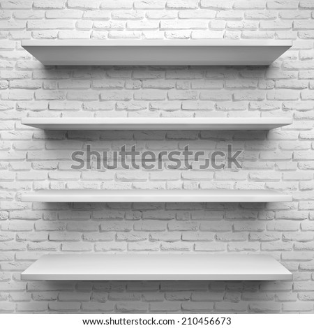 Empty four shelves on white brick background. - stock photo