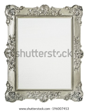 empty  frame for picture with artistic canvas - stock photo