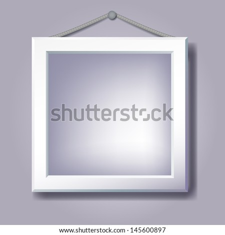 Empty frame hanging for inserting text or photo. Raster version of vector. - stock photo