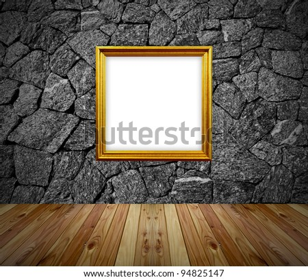 empty frame in a room against a white brick wall - stock photo