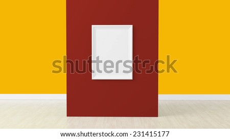 empty frame in room on red wall - stock photo