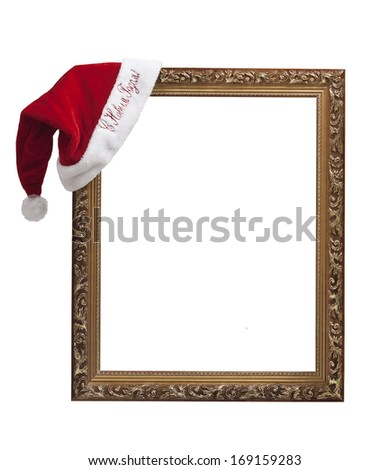 "Empty frame with the hat Santa Claus with the words ""happy new year!"" in Russian. - stock photo"