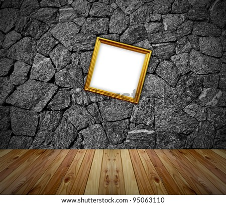 empty frames in a room against a white brick wall - stock photo