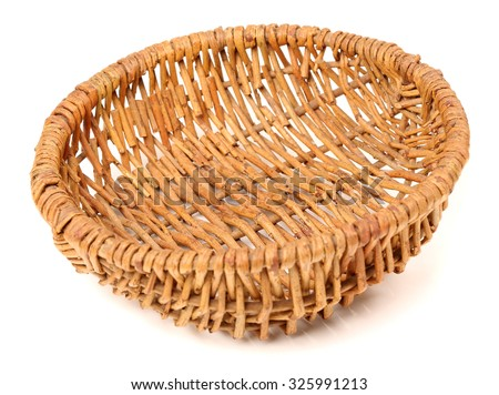 Empty fruit wicker brown basket bowl isolated over the white background