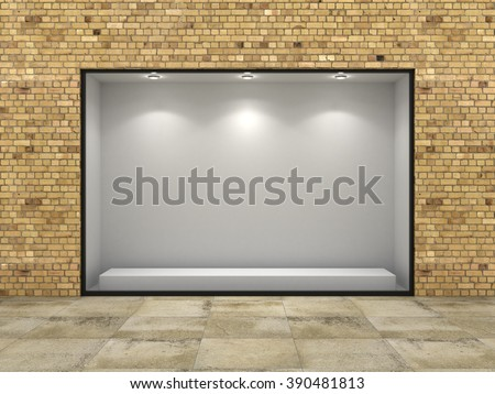 Empty ftorefront of shop in bricks wall. - stock photo