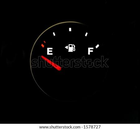 empty fuel gauge detail black - stock photo