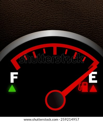 Empty fuel meter - stock photo