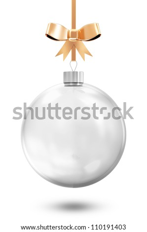 Empty Glass Christmas Ball with Golden Bow isolated on white background - stock photo