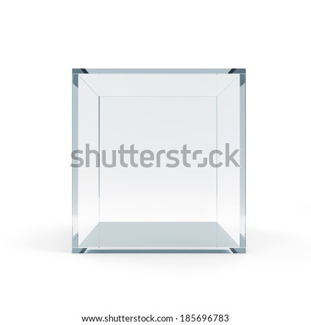 Empty Glass Cube isolated on white background - stock photo