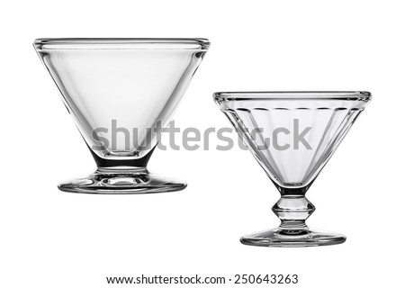 Empty glass dish cream isolated on white background.  - stock photo