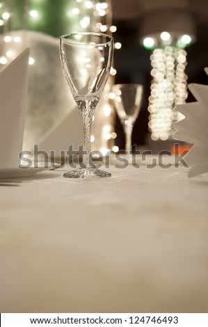 Empty glass in restaurant table - stock photo