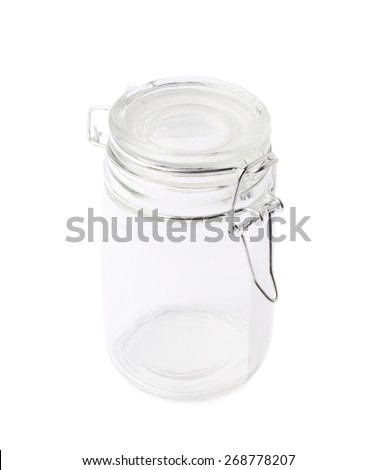 Empty glass jar with the ceramic cap hold with metal wire, isolated over the white background - stock photo
