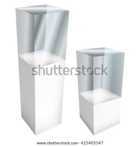Empty glass large and small showcases for exhibit. 3D illustration isolated on white background. Trade show booth white and blank pedestal with glass box for expo design.  - stock photo