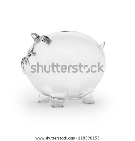 Empty glass piggy bank - stock photo