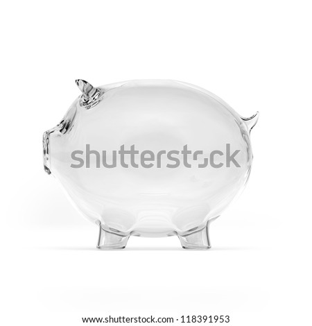 Empty glass piggy bank. Side view - stock photo