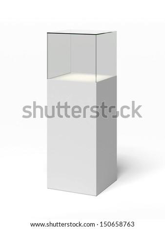 empty glass showcase - stock photo