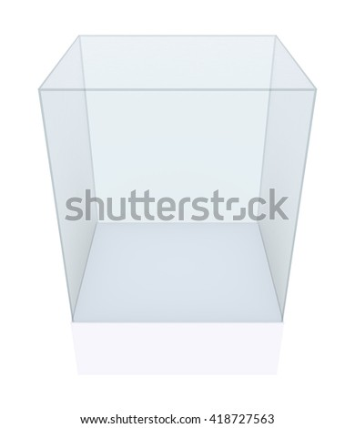 Empty glass showcase, 3d exhibition space. 3D rendering - stock photo