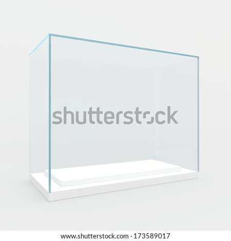 Empty glass showcase. 3d render. isolated on gray background. - stock photo