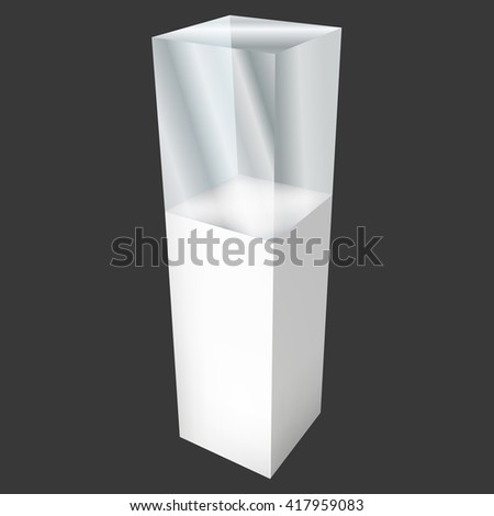Empty glass showcase for exhibit. 3D illustration on black background. Trade show booth white and blank pedestal with glass box for expo design.  - stock photo