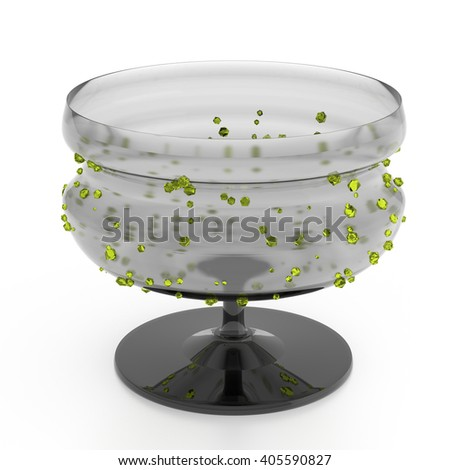 Empty glass vase  isolated on white background with yellow crystals.  - stock photo