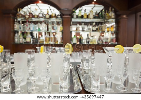Empty glasses in restaurant ready to served with liquid - stock photo
