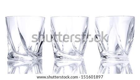Empty glasses, isolated on white   - stock photo
