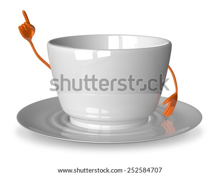 Empty glossy white cup character in moment of insight isolated on white - stock photo