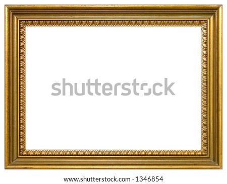 Empty gold frame isolated - stock photo