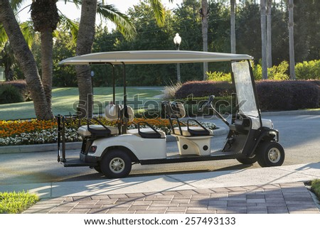 Empty golf cart on a macadam path by a golf course, Florida, Kissimmee - stock photo