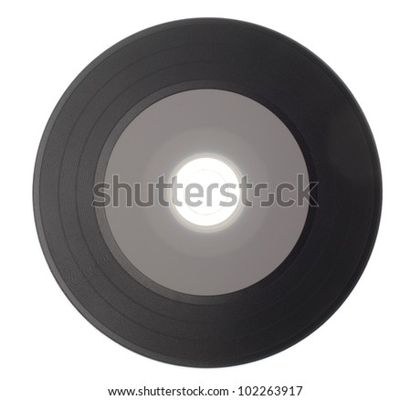 Empty Gramophone vinyl record isolated on white background - stock photo