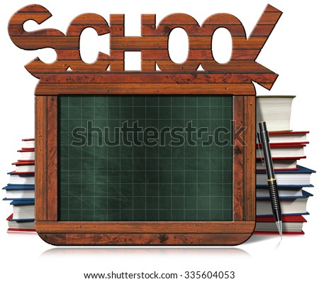 Empty Green Blackboard with Text School / Old empty and green blackboard with wooden rectangular frame, text School, books, and pencil. Isolated on white background - stock photo
