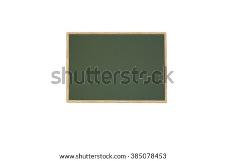 Empty green chalkboard on white background  - stock photo