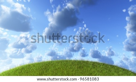 Empty green grass field with a curved horizon conceptual of the planet under cloudy blue heavens - stock photo