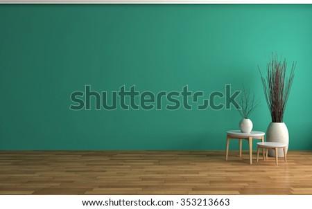 empty green interior. 3d illustration - stock photo