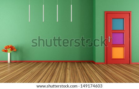 Empty green modern interior with colorful door - rendering - stock photo