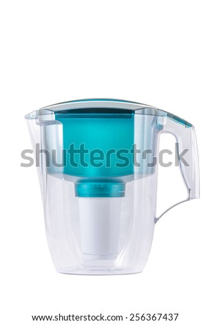 Empty green water filter isolated on white background. - stock photo