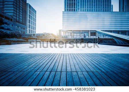 empty ground and office building - stock photo