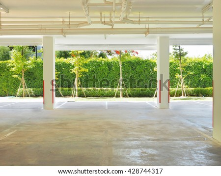 empty ground floor car parking with copy space - stock photo