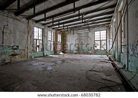 empty grunge abandoned hall - stock photo
