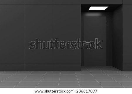 Empty Hall Interior with Opened Door in Modern Business Center. 3D Rendering - stock photo