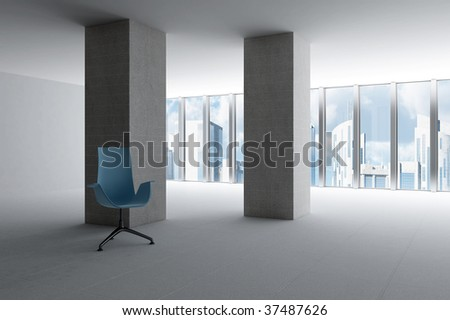 empty hall of modern business office with light from windows - stock photo