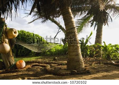 Empty Hammock in Lush Tropical Setting Awaiting You! - stock photo